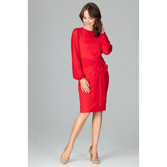 80eb88ce3 Červené elegantné púzdrové šaty so šifónom a viazaním K494