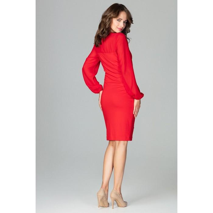 f858ff2b8c6a Červené elegantné púzdrové šaty so šifónom a viazaním K494