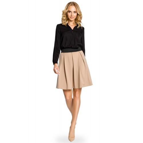 Béžová áčková sukňa s pásom na širokú gumu MOE012