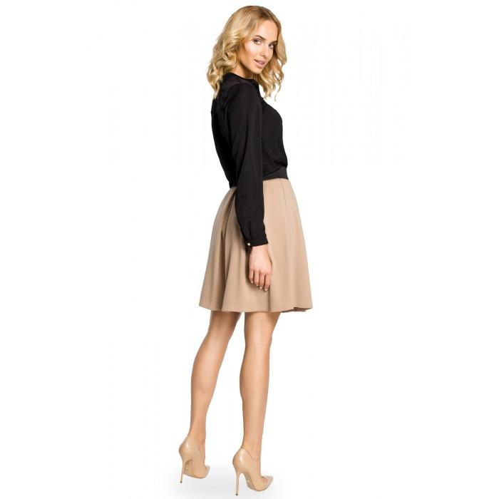 fc4a3983fb2a Béžová áčková sukňa s pásom na širokú gumu MOE012