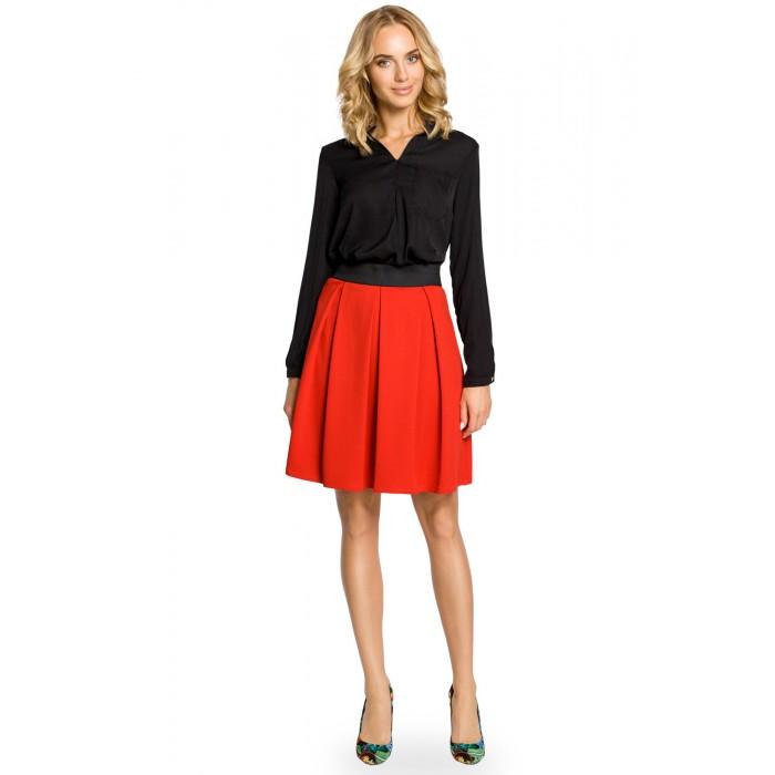 9800e29db91d Červená áčková sukňa s pásom na širokú gumu MOE012