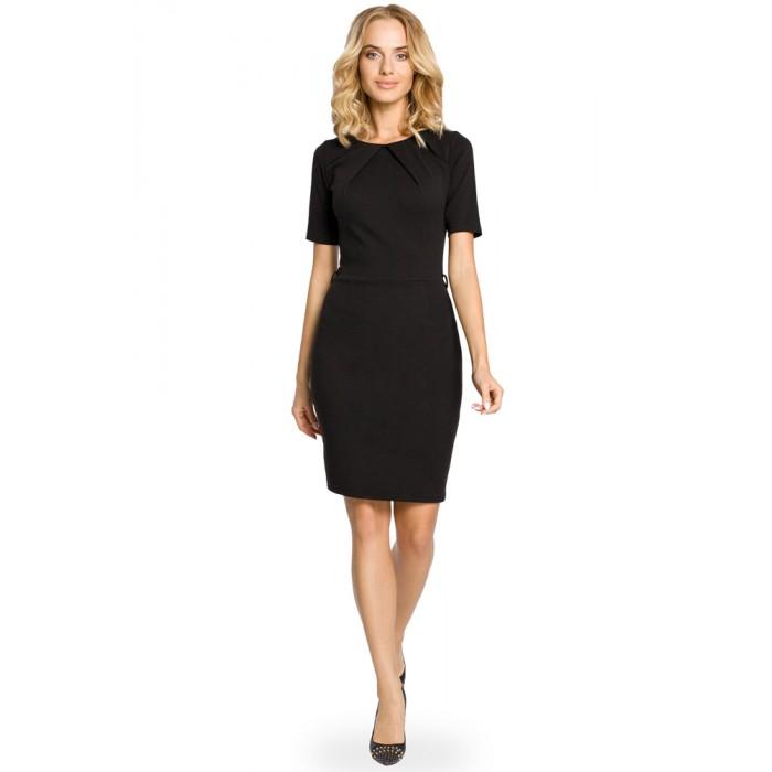 27dd0395b9 Elegantné úpletové čierne púzdrové šaty 013