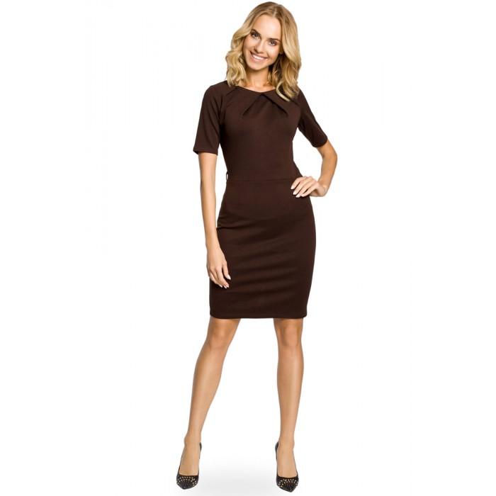 9ef7d08569dd Elegantné úpletové hnedé púzdrové šaty 013