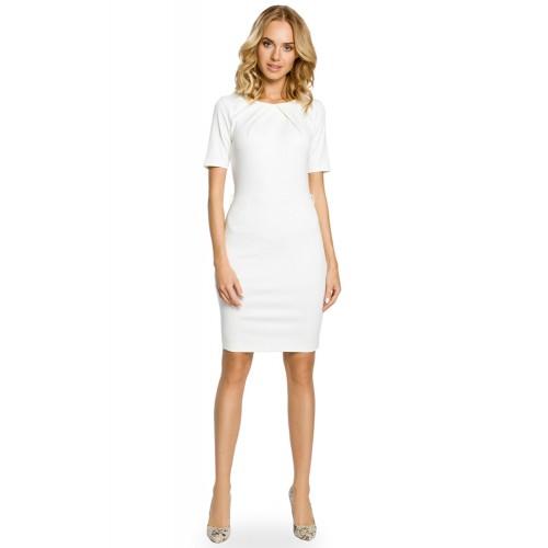 MOE013 Úpletové smotanovobiele púzdrové šaty 3XL