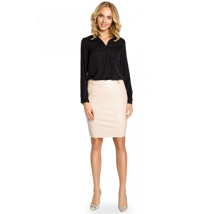 2753feb8dc11 Béžová koženková púzdrová sukňa 015