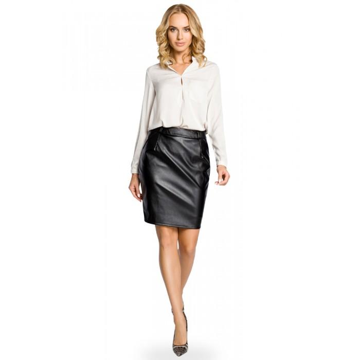 3d4a5b2076b5 Čierna koženková púzdrová sukňa 015