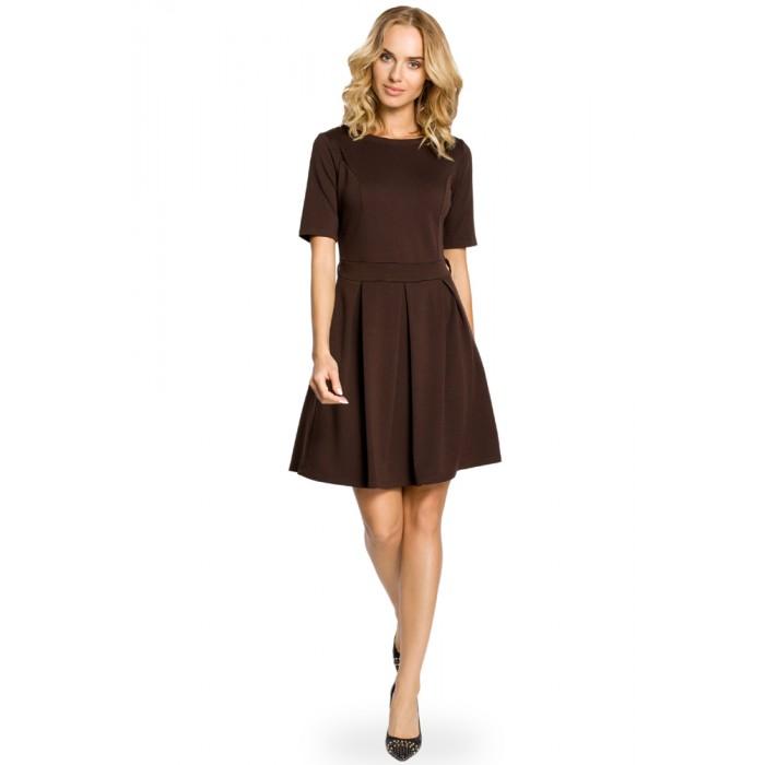 b6ead0aec46e Hnedé úpletové šaty v Alínii so skladaním 018