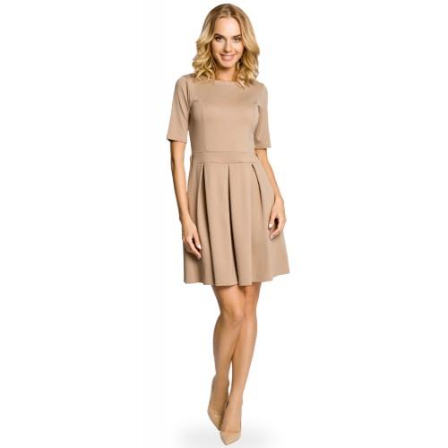 Béžové úpletové šaty v Alínii so skladaním 018