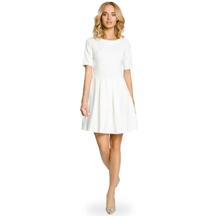 0aef8e3b256f Smotanovobiele úpletové šaty v Alínii so skladaním 018
