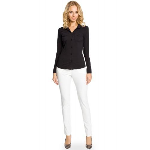 Čierna klasická SLIM košeľa s dlhým rukávom MOE020