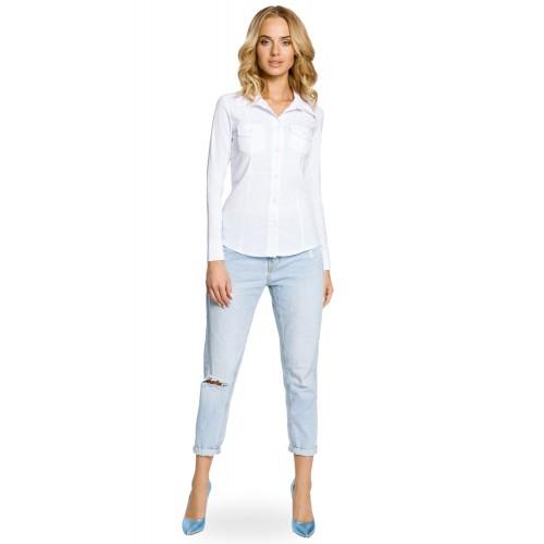 Biela klasická SLIM košeľa s dlhým rukávom MOE020