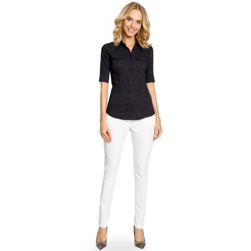 Čierna klasická SLIM košeľa s krátkym rukávom MOE027