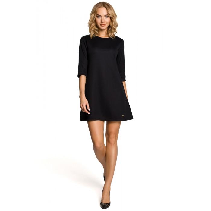 c7132557be05 Klasické čierne šaty v Alínii s 3 4 rukávom 029