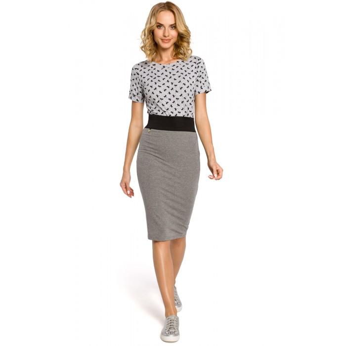 fb261d8bf763 Dámska šedá púzdrová sukňa s elastickým pásom 062
