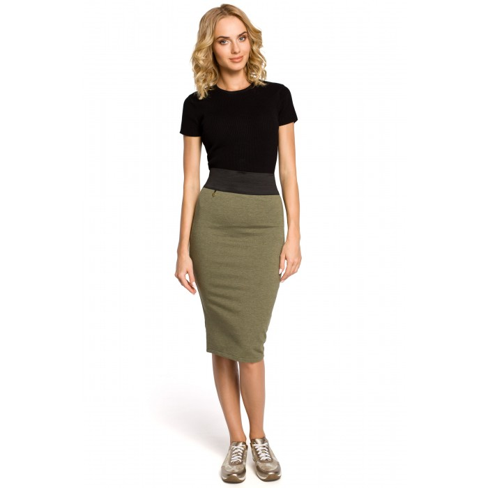 970050297267 Dámska khaki púzdrová sukňa s elastickým pásom 062