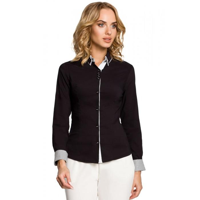 6f74148fc84d Dámska čierna košeľa s dvojfarebným golierom 067