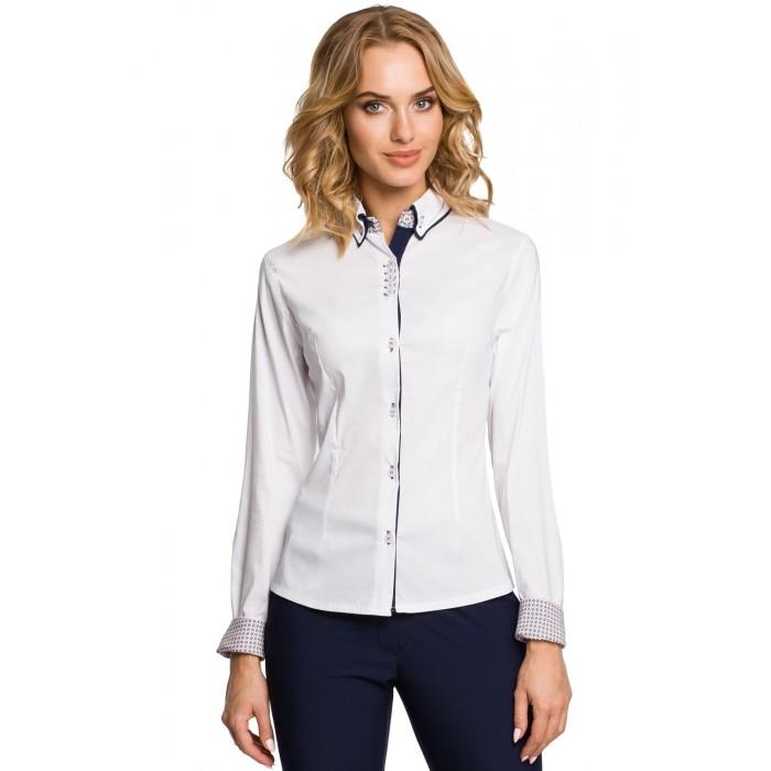Dámska biela košeľa s dvojfarebným golierom 067 b6fabe8e9a0