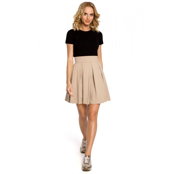 ef474e4bc6a8 Béžová sukňa s vyšším pásom a skrytým zipsom MOE109
