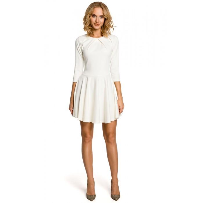 Smotanovobiele koktejlové šaty s riasenou sukňou a 3 4 rukávom MOE121 ec4c9a0adf