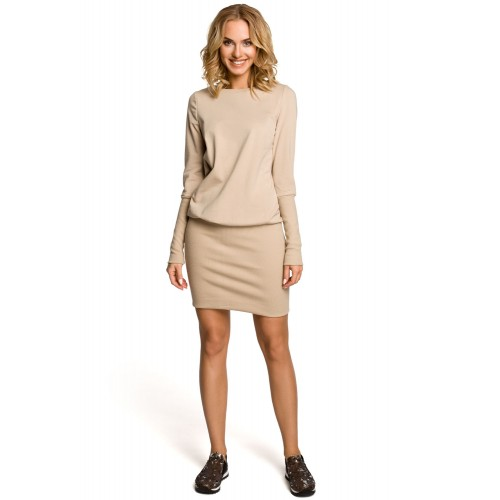 Béžové úpletové šaty so širokou manžetou MOE143