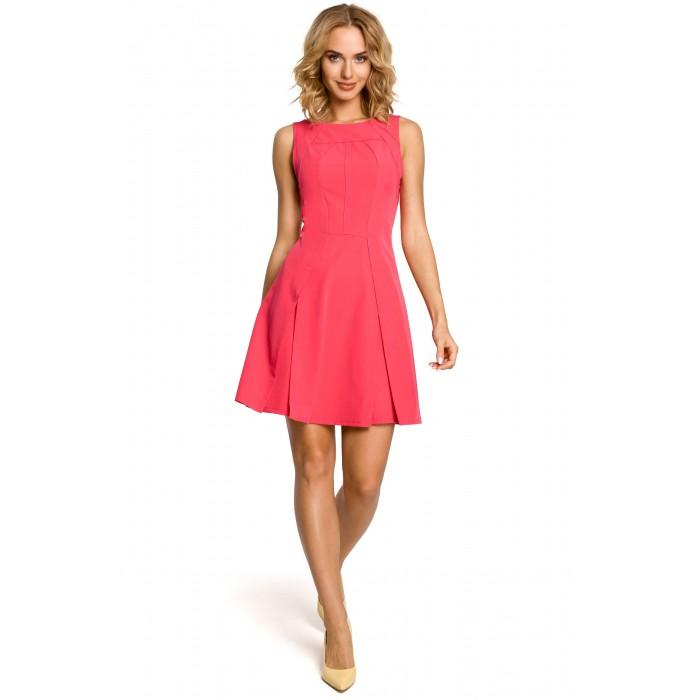 Dámske ružové šaty bez rukávov s prekladanou sukňou Alínia MOE188 14001b616ce