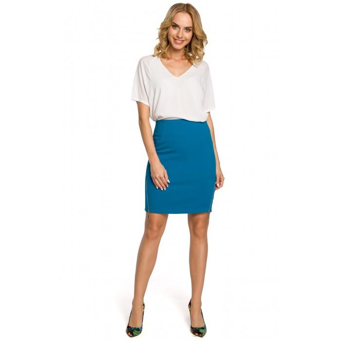 31dbef456aa9 Dámska tyrkysová púzdrová sukňa so zipsami MOE191