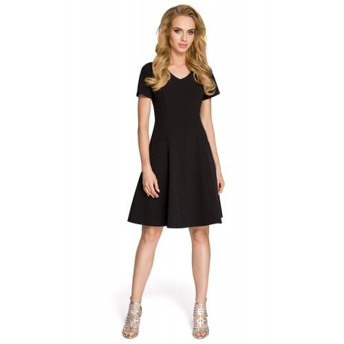Dámske čierne šaty v línii A MOE 233