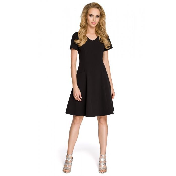 39b1664a0 Dámske čierne šaty v línii A MOE 233