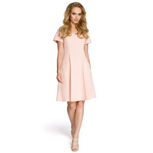 Dámske púdrovoružové šaty v línii A MOE 233