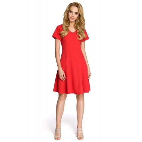 Dámske červené šaty v línii A MOE 233
