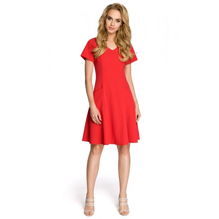 a3e10c329df7 Dámske červené šaty v línii A MOE 233