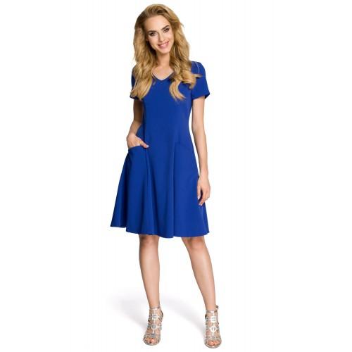 Dámske modré šaty v línii A MOE 233