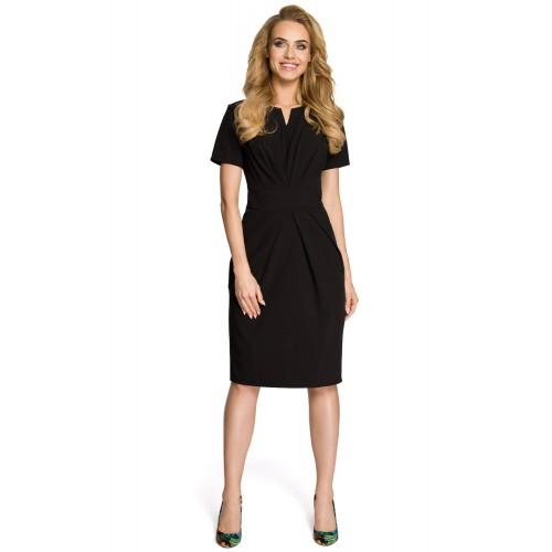 Dámske čierne šaty s krátkym rukávom MOE234