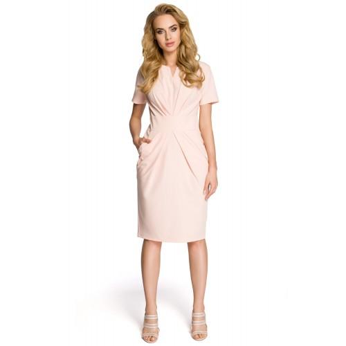 Dámske púdrovoružové šaty s krátkym rukávom MOE234