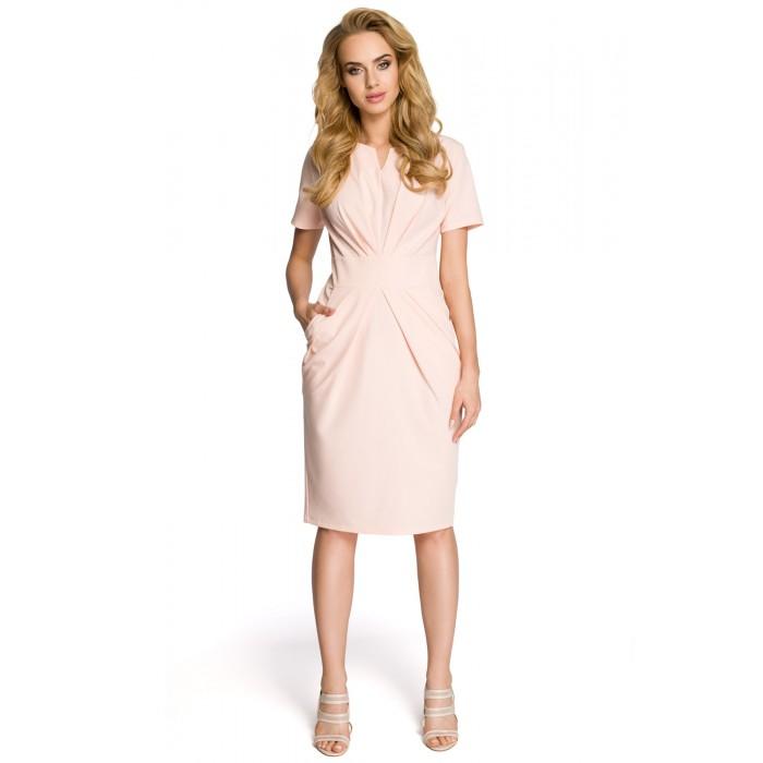 34b1ccdd5 Dámske púdrovoružové šaty s krátkym rukávom MOE234