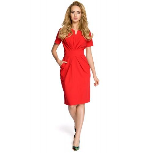 Dámske červené šaty s krátkym rukávom MOE234