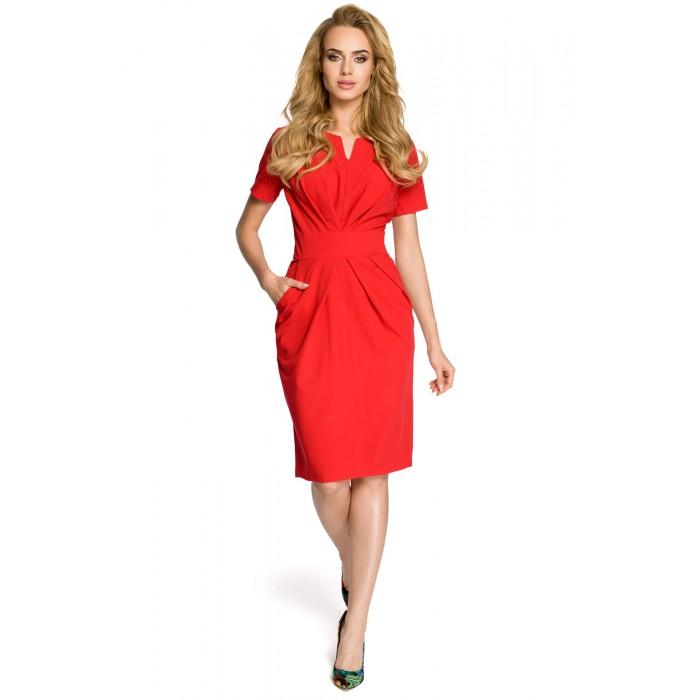 Dámske červené šaty s krátkym rukávom MOE234 639516cf37