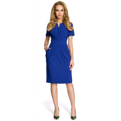 Dámske modré šaty s krátkym rukávom MOE234 L