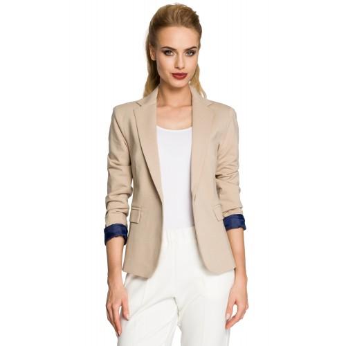 Béžové úpletové sako s farebnou podšívkou MOE243