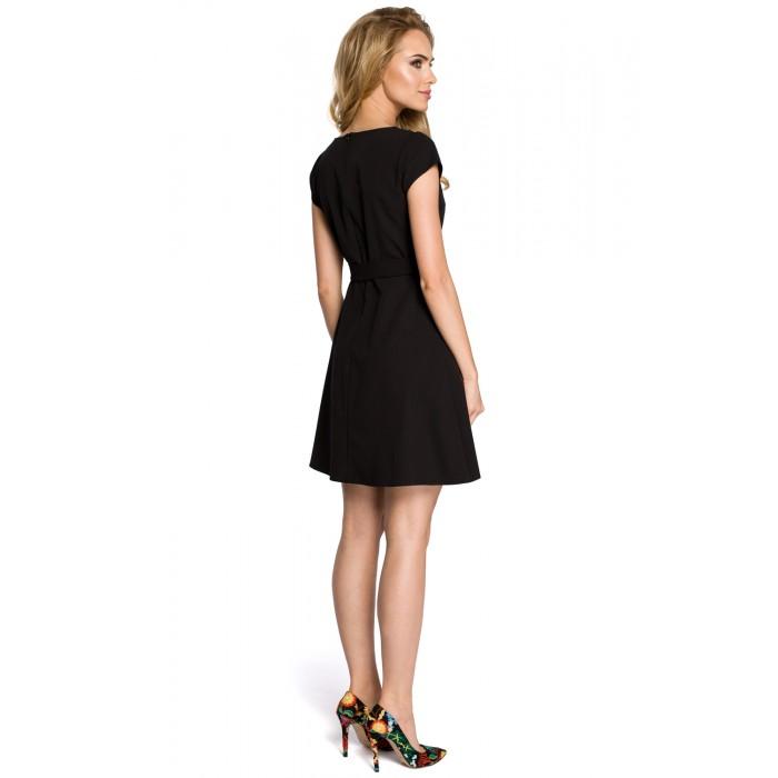 52d70386d8ca Klasické čierne šaty v Alínii s opaskom MOE246