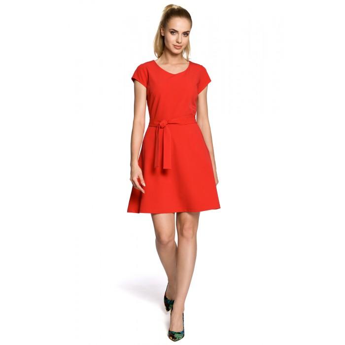 dce7940502e7 Klasické červené šaty v Alínii s opaskom MOE246