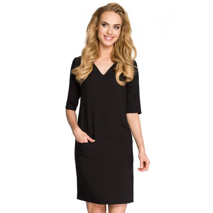 9b481a167eab Klasické čierne púzdrové šaty s 3 4 rukávom MOE250