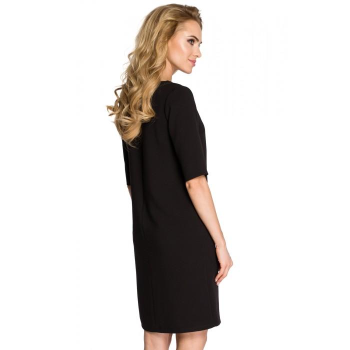 b7393446c59a Klasické čierne púzdrové šaty s 3 4 rukávom MOE250