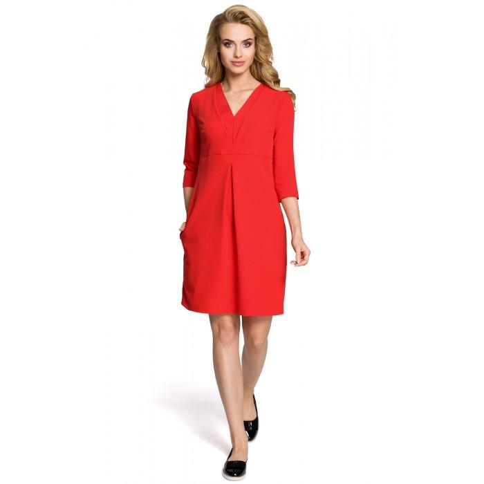 76f7cc68ef66 Červené šaty v Alínii s 3 4 rukávom a dvojitýmd dekoltom MOE251