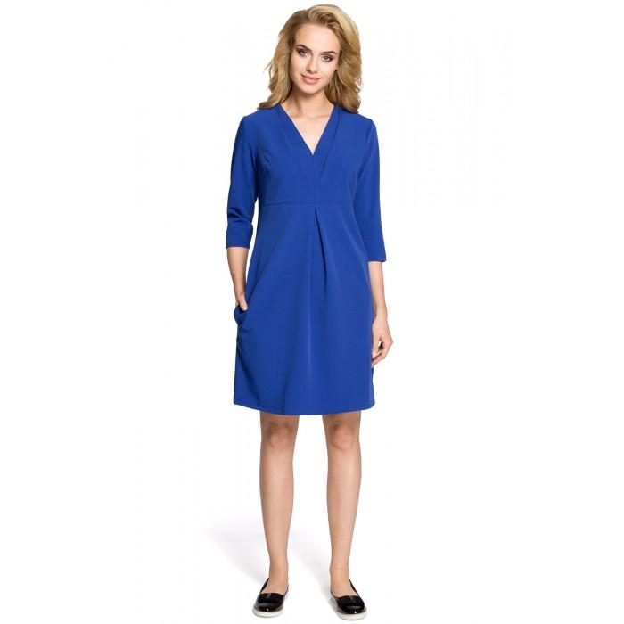 c8dee00efce3 Kráľovsky modré šaty v Alínii s 3 4 rukávom a dvojitýmd dekoltom MOE251
