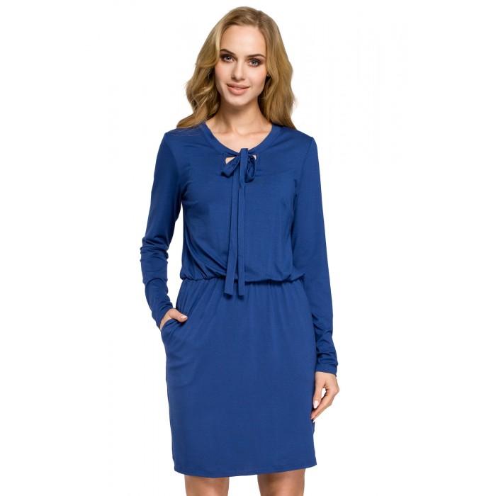 Modré úpletové šaty s viazaním MOE252 961765f4bda