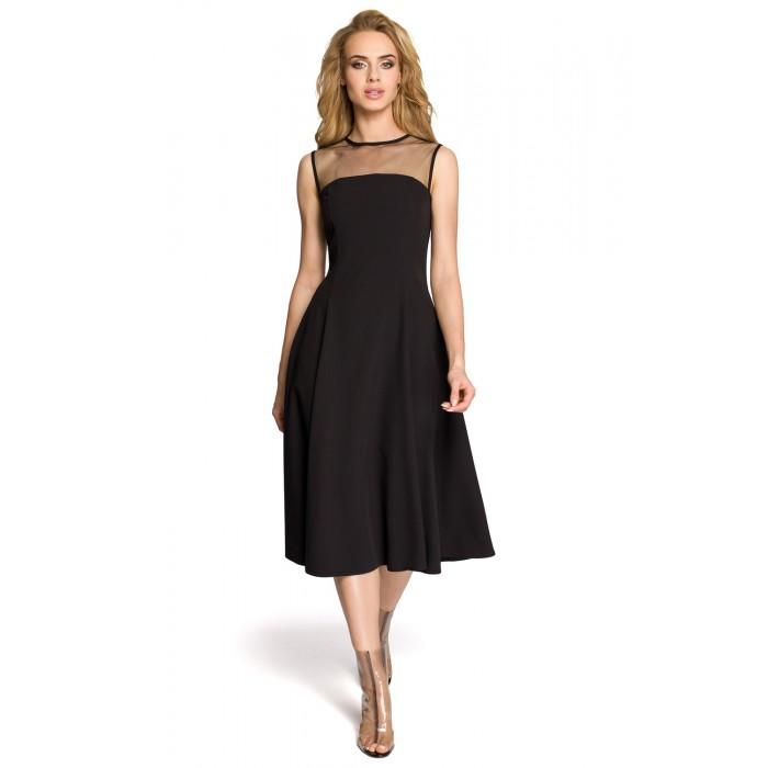e60066a5fffb Čierne šaty bez rukávov so širokou sukňou a tylovým dekoltom MOE271