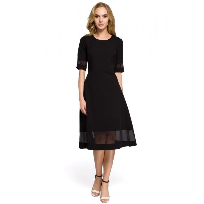 e571cd156760 Jednoduché čierne áčkové šaty s tylom MOE272 42