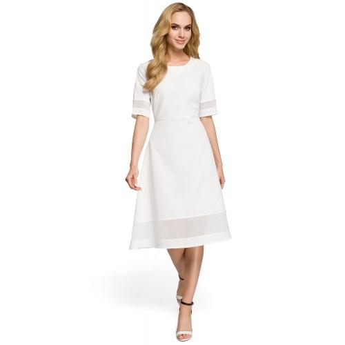 Jednoduché biele áčkové šaty s tylom MOE272 84277d21edc