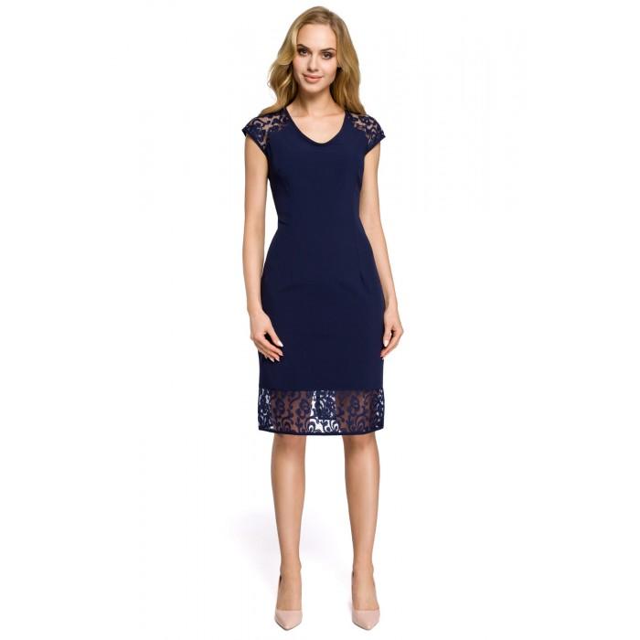 f07dc4dab5e0 Elegantné tmavomodré šaty s čikou MOE273